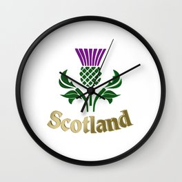 Scottish emblem thistle Wall Clock