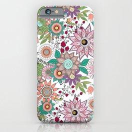Stylish floral doodles vibrant design iPhone Case