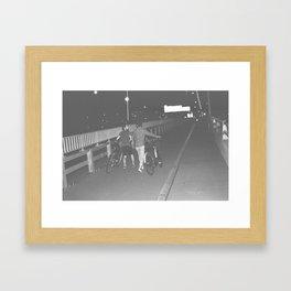 Cyclist On Bridge Framed Art Print