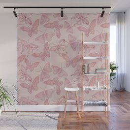 Butterfly Pattern soft pink pastel Wall Mural