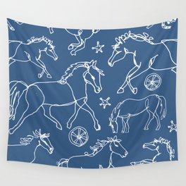 Galloping Horses, White on Navy Blue Wall Tapestry