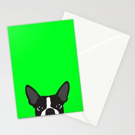 Boston Terrier Green Stationery Cards