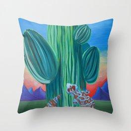 Saguaro Cactus Sunset Throw Pillow