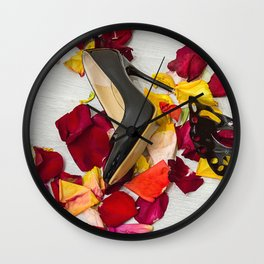 After masquerade - shoes, mask and rose petals Wall Clock