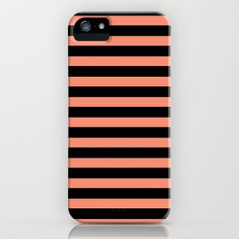Black and coral striped pattern iPhone Case