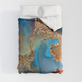 Luxurious Abstract Glitter Gold and Blue Paint Texture Comforters