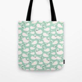 Duck Egg Blue Swans Tote Bag