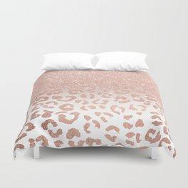 Trendy modern faux rose gold glitter ombre leopard pattern Duvet Cover