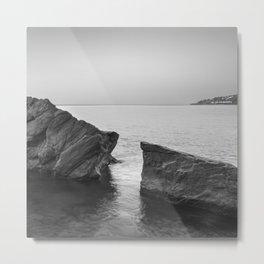 Serenity Sea. BW square. At Sunrise Morning Metal Print