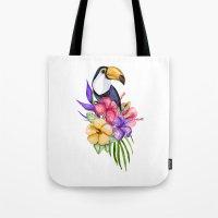 toucan Tote Bags featuring Toucan by Julia Badeeva