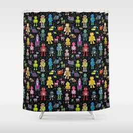 Robots in Space - on black Shower Curtain