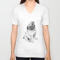 pug V-neck T-shirts featuring Pug by Maripili