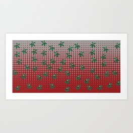 Buckeyes 'n' leaves on scarlet 'n' gray. Art Print
