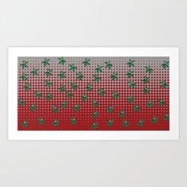 Buckeyes 'n' leaves on scarlet 'n' gray. Art Print