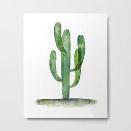 Watercolor Saguaro cactus Metal Print