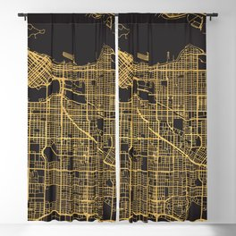 VANCOUVER CANADA GOLD ON BLACK CITY MAP Blackout Curtain