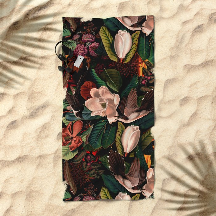 FLORAL AND BIRDS XIV Beach Towel