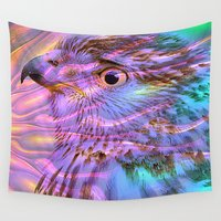 hawk Wall Tapestries featuring exceptional hawk by MehrFarbeimLeben