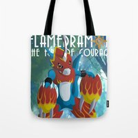 digimon Tote Bags featuring The Fire Of Courage by Zaukhes
