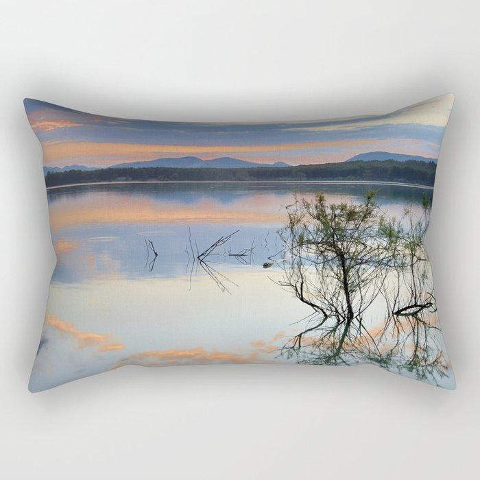 """""""Magic sky"""". Sunset at the lake. Rectangular Pillow"""