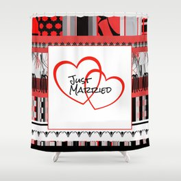 just Married Hearts white pattern I Shower Curtain