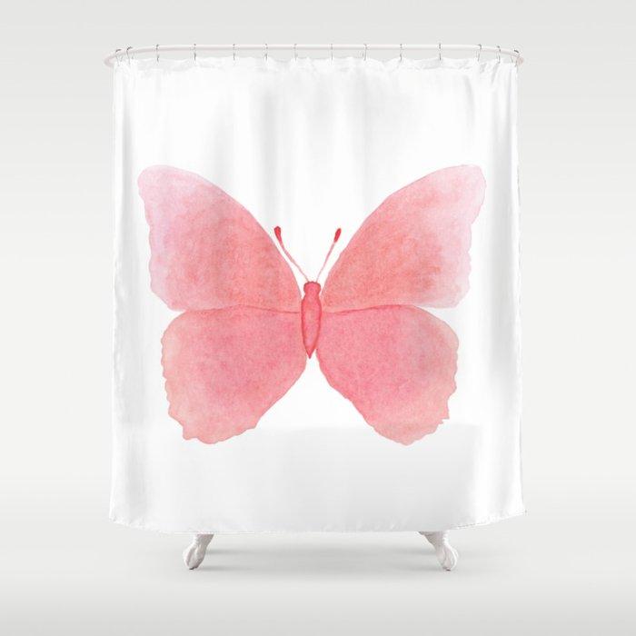 Watermelon pink butterfly Shower Curtain
