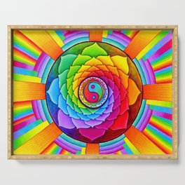 Healing Lotus Rainbow Yin Yang Mandala Serving Tray