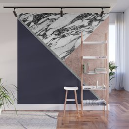 Marble Rose Gold Navy Blue Triangle Geometric Wall Mural