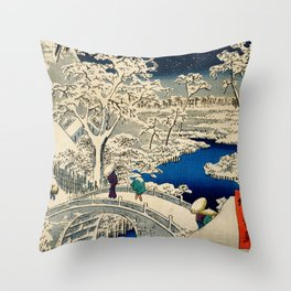 Ukiyo-e, Ando Hiroshige, Yuhi Hill and the Drum Bridge at Meguro Throw Pillow