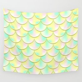 Yellow Green Mermaid Pattern, Holographic Fish Scale Print Wall Tapestry