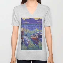 Boats in a Harbor Unisex V-Neck