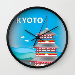 Kyoto, Japan - Skyline Illustration by Loose Petals Wall Clock