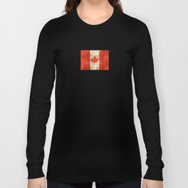 Vintage Aged and Scratched Canadian Flag Long Sleeve T-shirt