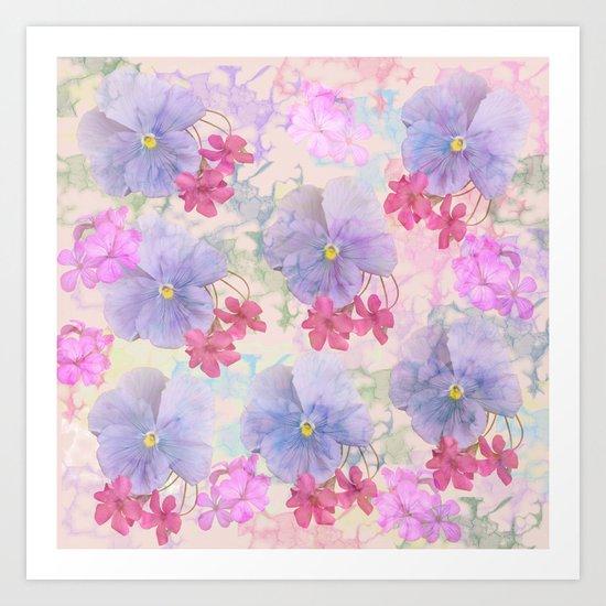 Painterly purple pansies and pink Oxalis Art Print