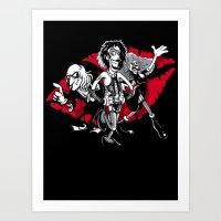 rocky horror Art Prints featuring Rocky Horror Gang by Billy Allison