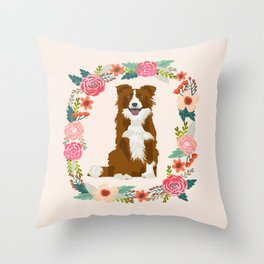border collie brown floral wreath dog gifts pet portraits Throw Pillow
