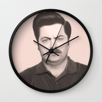 ron swanson Wall Clocks featuring Ron Swanson by Alexia Rose
