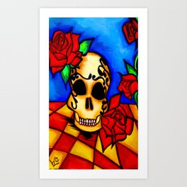 Skull and red roses Art Print