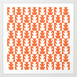 Art Deco Jagged Edge Pattern Orange Art Print