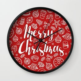 MERRY CHRISTMAS! - Red Pattern Wall Clock