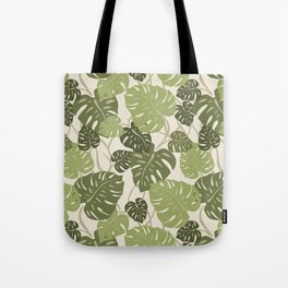 Cliff Hanger Monstera Leaf Hawaiian Print    Tote Bag