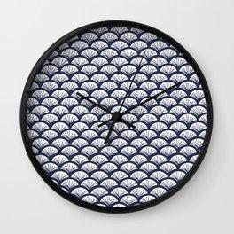 Kabuki Fan White Blue Wall Clock