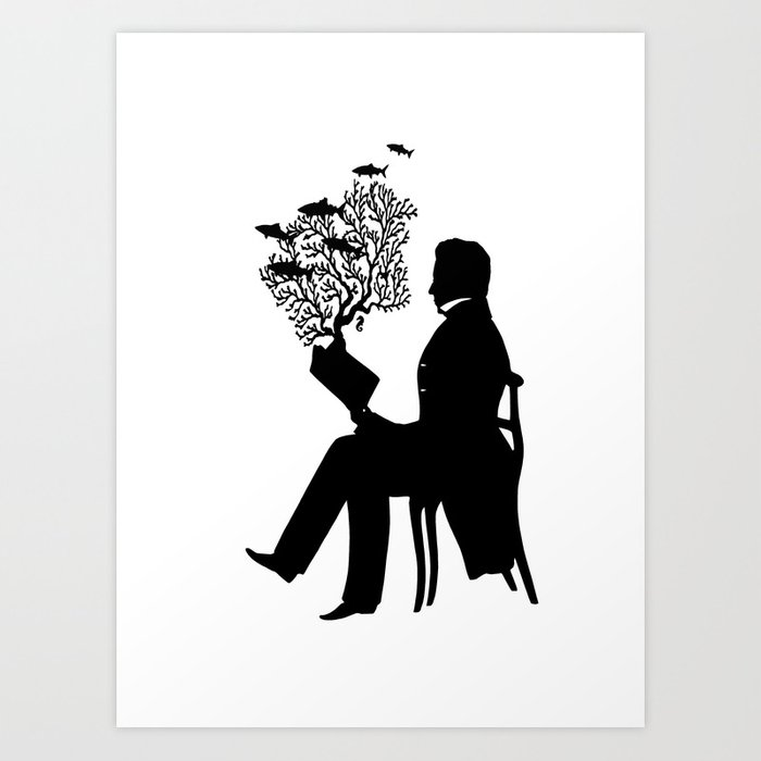 Silhouette black and white reading nautical coral fish victorian a very good book indeed art print