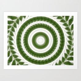 Green White Kaleidoscope Art 8 Art Print