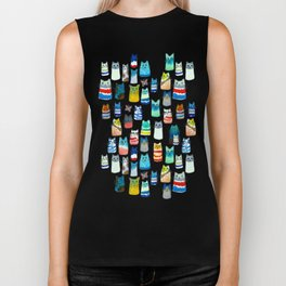 Lots of Watercolor Kitty Cats Biker Tank