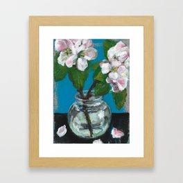 Painting of apple blossom flowers in glass jar Framed Art Print
