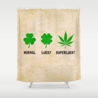cannabis Shower Curtains featuring  Cannabis / Hemp / Shamrock - Super Lucky mode by badbugs_art
