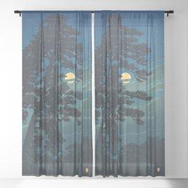 Hasui Kawase, Full Moon Over Magome - Vintage Japanese Woodblock Print Art Sheer Curtain