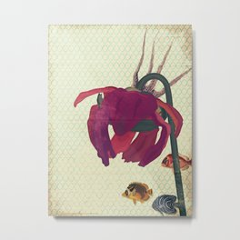 Vintage Sympathetic Collection: Flower and Fish Metal Print
