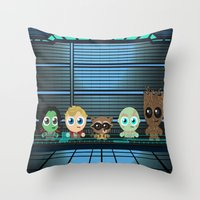 guardians of the galaxy Throw Pillows featuring GUARDIANS OF THE GALAXY by Chris Thompson, ThompsonArts.com